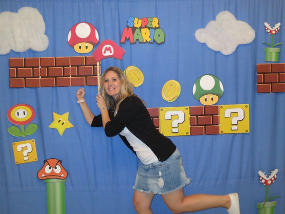 imagines chapadas p adesivar sobre o vidro -   Super Mario Brothers Photo Booth Props Decor by LMPhotoProps