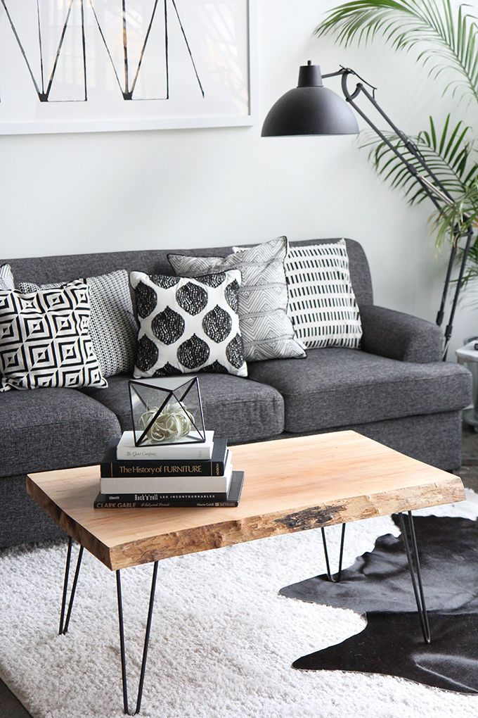 DIY: wood slab coffee table