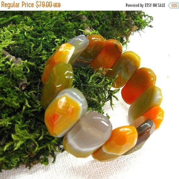 Your BEST GIFT Natural  Agate Bracelet Gemstone wide chunky bangle elastic cuff bracelet orange yellow warm color fashion jewelry bracelets