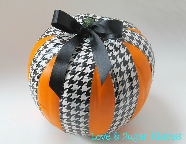 Duct Tape on a pumpkin, easy and cute.