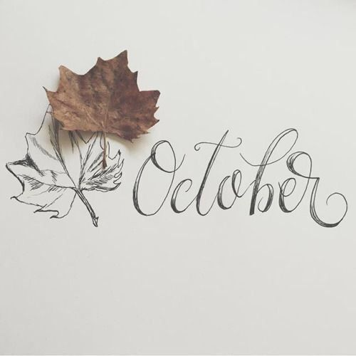 October Typography with Autumn Leaves