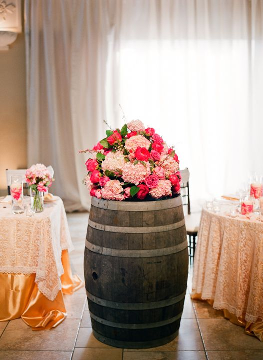 Wine barrel arrangement #thepetalcompany
