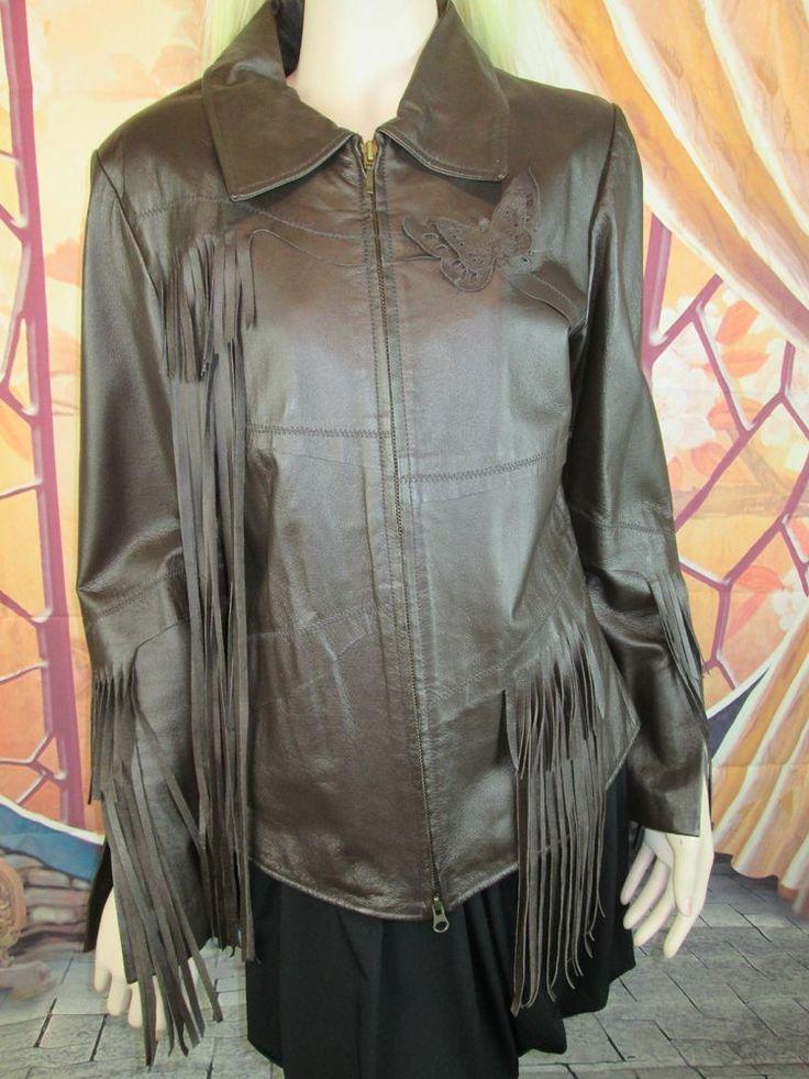TOGETHER Brown Leather Fringe Jacket Size 10 #TOGETHER #BasicJacket