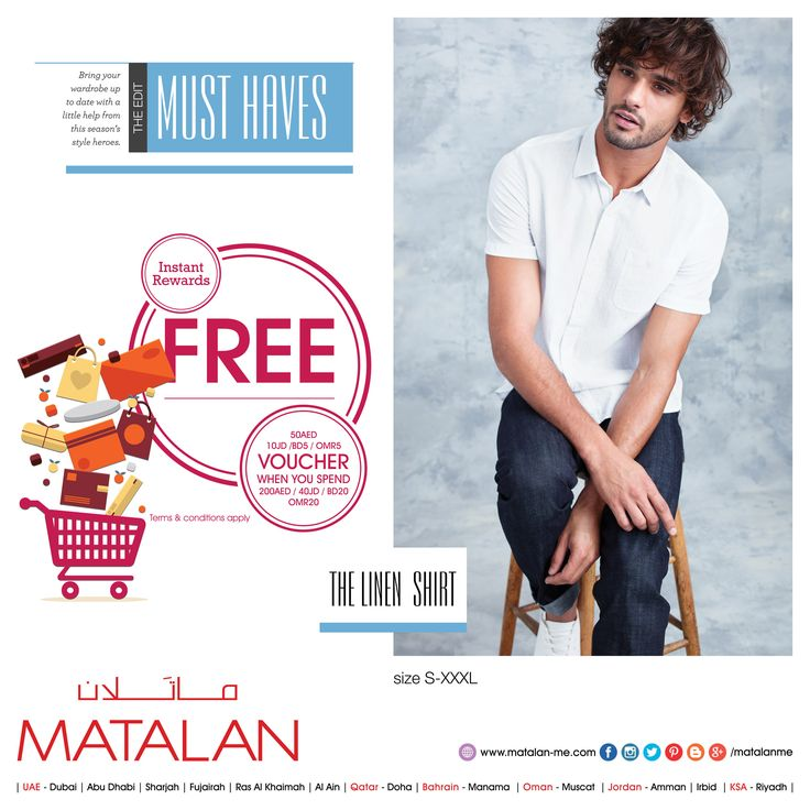 Get the seasons latest looks with MATALAN's fabulous NEW COLLECTIONS at an amazing price! Try our Quality at Great Prices only at UK's No. 1 Departmental Value store!!  THE LINEN  SHIRT size S-XXXL   www.matalan-me.com/mailer  #matalanme #makesfashionsense #newcollections #newitems #Giftvoucher #spend #free #voucher #fabulous #style #wide #Selection #fashion #fashionblogger #ladies #gents #kids #home #offer #promotion #KSA #UAE  #Qatar #Oman #Bahrain #Jordan