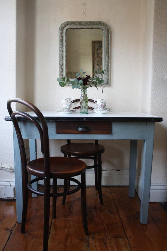 Generous 50s Enamel-Topped Scullery Table with by ArthurandEde