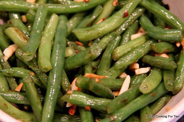 Fresh green beans with almonds, very nice. An easy one pan stove top side dish that will go great with almost any meal.