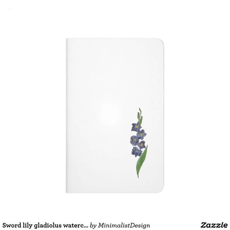 Sword lily gladiolus watercolor painting journal minimalist notebook cover,gladiolus flower journal, sword lily flower notebook, notebook mauve, notebook indigo,pocket sized food diet journal, pocket journal cover, pocket pregnancy journal, travel pocket journal, pocket gratitude journal, Copyright © 2017, Anca Ioviţă #zazzle #minimalism