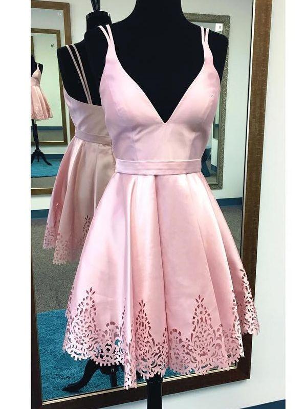 929e14400b7 Straps V Neck Short Pink Homecoming Dress in 2019