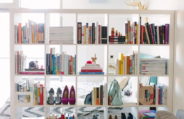 Cait Weingartner's Chicago Studio Tour // bookshelf styling // @IKEA USA // room divider // photography by Stoffer Photography