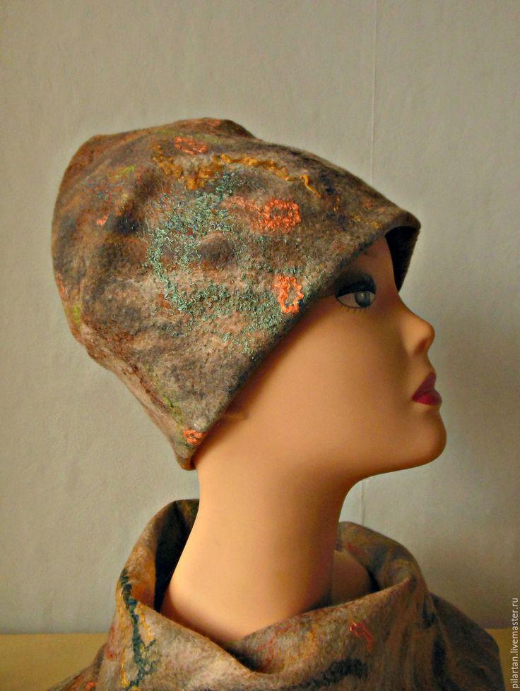 Купить Шапка бини валяная рыжая Терра - шапка, шапка женская, шапка валяная