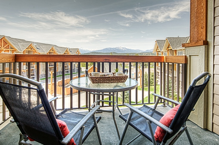 Private southwest facing deck with a gas BBQ and incredible views of the Purcell mountains