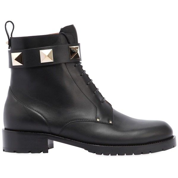 Valentino Women 30mm Lock Leather Combat Boots ($1,425) ❤ liked on Polyvore featuring shoes, boots, black, black military boots, military boots, black army boots, black leather shoes and studded combat boots