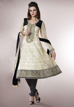 Cream faux georgette resham, zari and patch border work unstitched anarkali kameez with black poly shantoon churidar and black faux chiffon dupatta. Faux georgette sleeves comes along with this. Poly shantoon is used as lining of the kameez. The unstitched kameez can be customized from 32 to 40 inches. inches. (Slight variation in color and patch border is possible.) data-pin-do=
