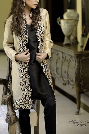 Silk Embroidered Coat by Riffat & Sana http://labelpk.com/boutiques/riffat-sana/