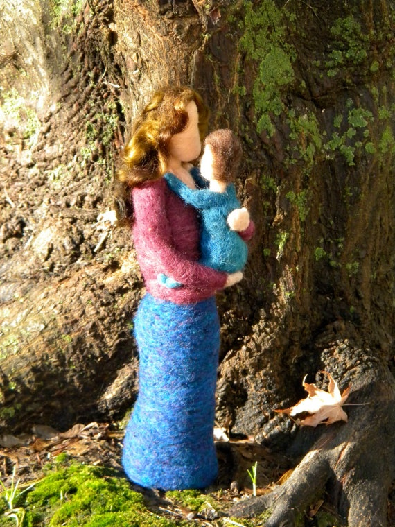 Mother and Child - Needle Felted Figures   by Kate Essery