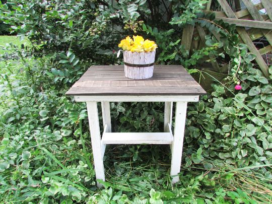 Farmhouse Style End Table, Country Cottage Table, French Country Table, Rustic  #Handmade #Cottage