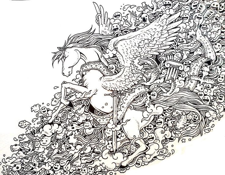 Pegasus Doodle Coloring Pages Colouring Adult Detailed