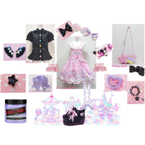 ☆ Milky Planet Pink Salopette ☆ by moonxkitty on Polyvore featuring Manic Panic and Masquerade