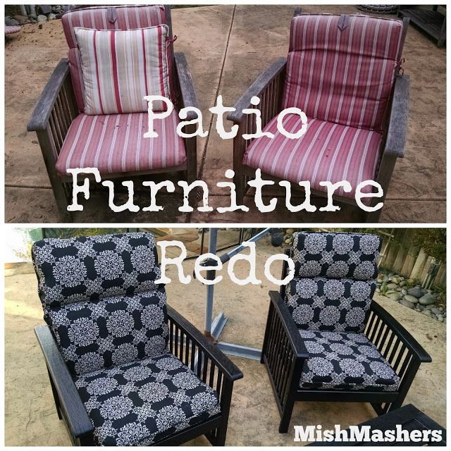 Patio Furniture Redo - Black Stain, painted cushions #DIY