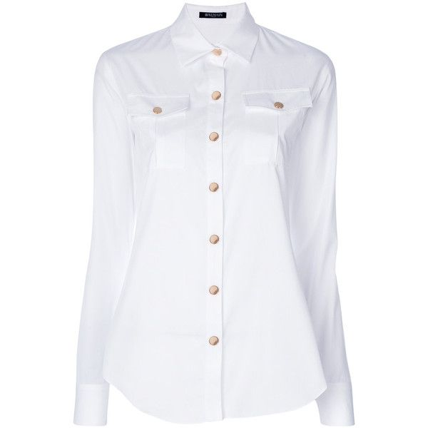 Balmain classic fitted shirt ($685) ❤ liked on Polyvore featuring tops, white, long-sleeve shirt, tailored shirts, long sleeve tops, white long sleeve top and white fitted shirt