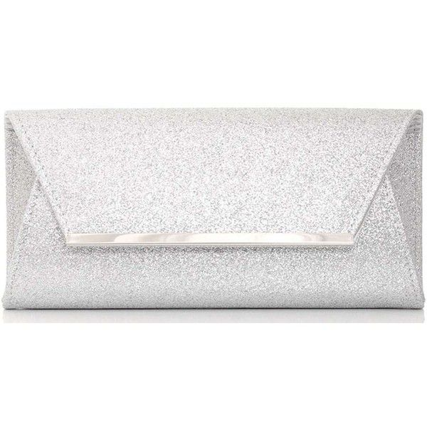 Dorothy Perkins *Quiz Silver Glitter Envelope Clutch Bag found on Polyvore featuring bags, handbags, clutches, silver, white envelope clutch, silver envelope clutch bag, party clutches, white purse and glitter handbags