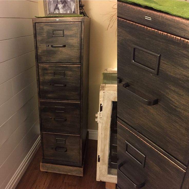 Refinished metal filing cabinet. Oil rubbed bronze/copper. Used chalk paint, wax and metallic glazes. Also made reclaimed fence wood cart with casters to make it easier to move and also to protect my wood floors.