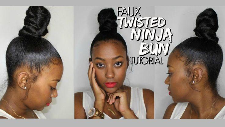 Faux Twisted Ninja Bun Tutorial [Video] - http://community.blackhairinformation.com/video-gallery/weaves-and-wigs-videos/faux-twisted-ninja-bun-tutorial-video/