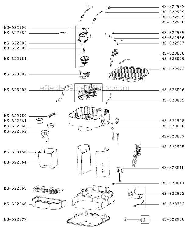 Krups XP601050/DY0 Parts List and Diagram