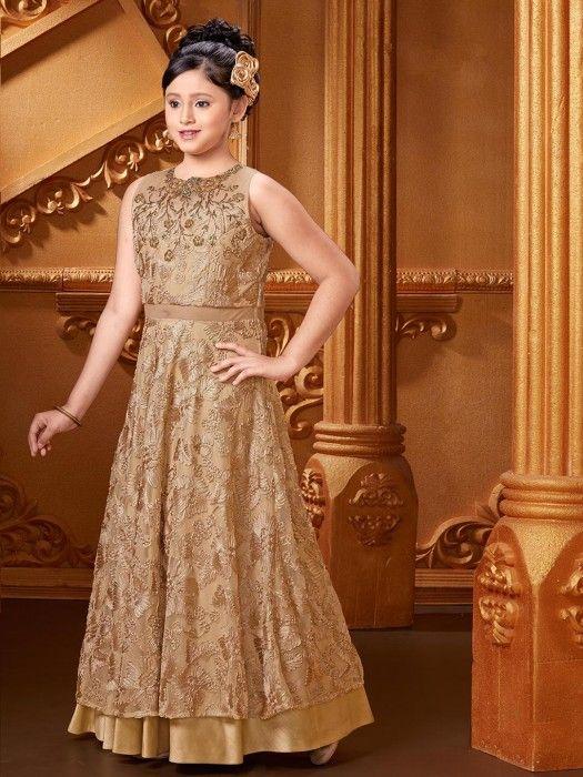 Beige Party Wear Gown In Net Fabric, designeer gown, girls fashion, party wear