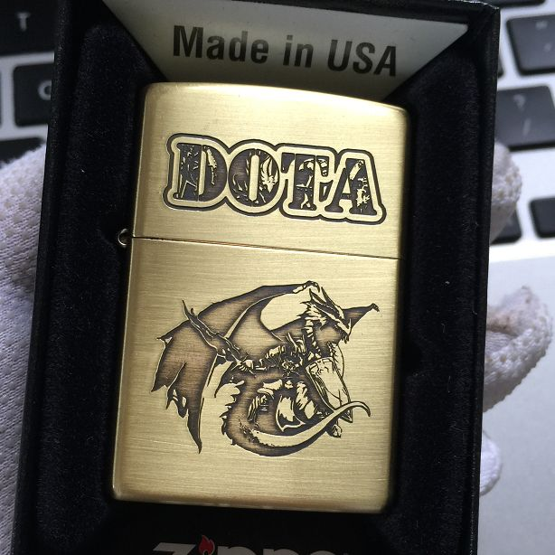 Etching Brass DOTA Defense of the Ancients Zippo Lighter