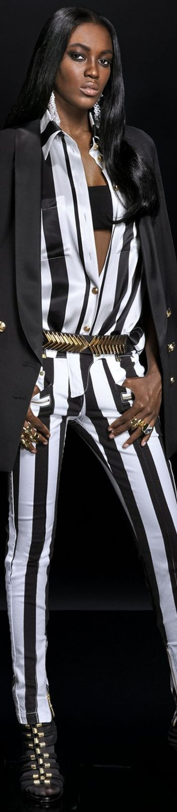 BALMAIN x H&M Collaboration...beautiful black and white striped blouse and pants.