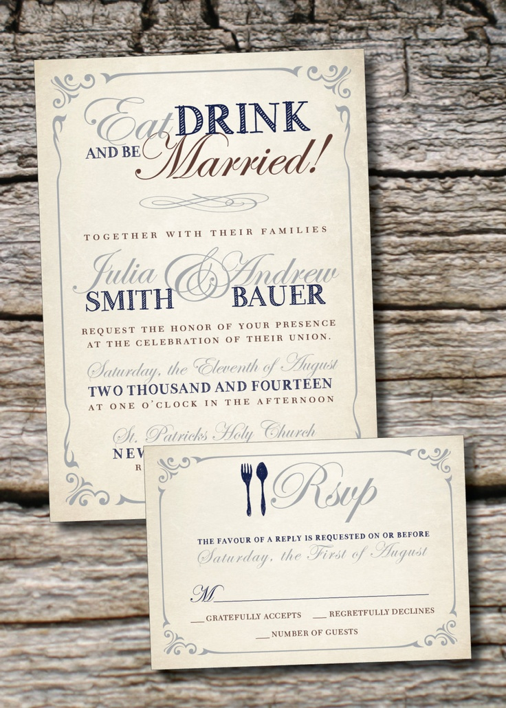 EAT DRINK And Be Married Rustic Wedding Invitation/Response Card   100  Professionally Printed Invitations