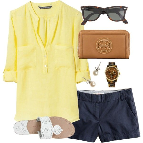 """Yellow, Navy, and Tortoise"" by classically-preppy on Polyvore"