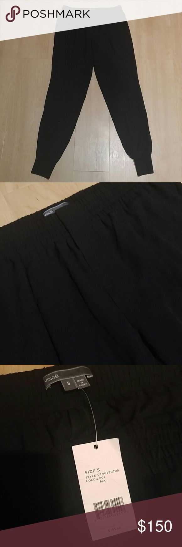 NWT Vince Silk Joggers Black 100% Silk with the exception of the bottoms which is a rib knit material. With pockets.  Stock photo not my own. Vince Pants Track Pants & Joggers