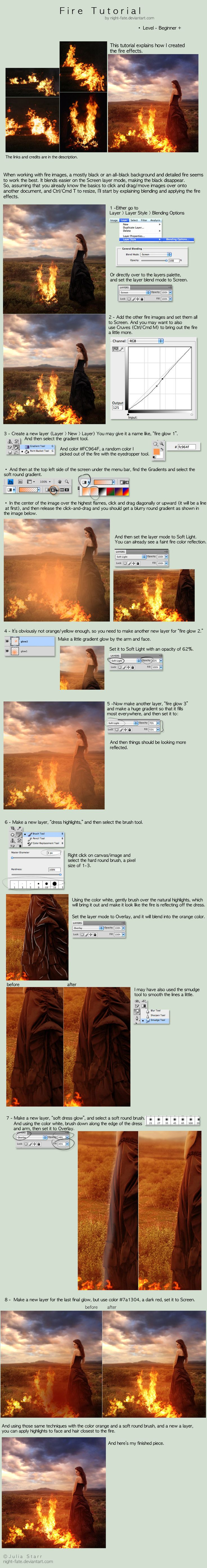 a great step by step tutorial on  how to create dimension and believability in an image like fire for instance.  Very well written by night-fate on deviant art