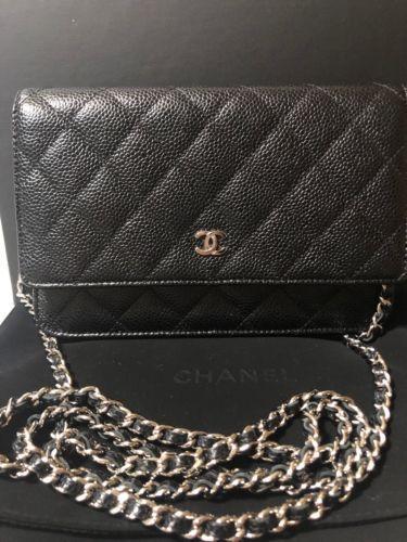 ba4218bc3e7f 100% Chanel Black Caviar Leather Wallet On A Chain WOC  #chanelboywalletonchain
