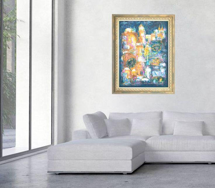 "Fine art  print, green orange gold giclee print on canvas, Marilion Fine Art, ""DREAM ABOUT ISTANBUL"" by MarilionFineArt on Etsy"