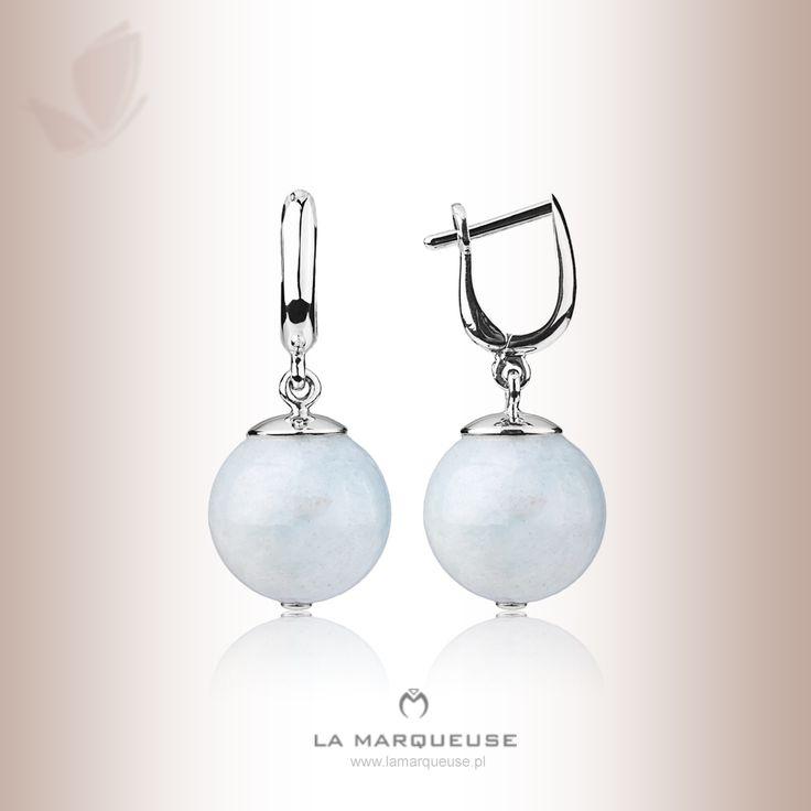 Kolczyki z akwamaryną  z białego złota. Kolekcja La Marqueuse. ..: #kolczyki #bizuteria #jewerly #earrings #akwamaryna #LaMarqueuse :...