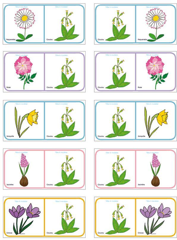 Dominos des fleurs de printemps et d'été - planche à imprimer