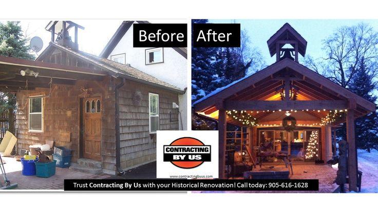 www.contractingbyus.com #beforeandafter  #homerenovation #homeimprovement #homeremodelling #reno #generalcontractor #deck #cedar #custommade #backyard #heritagehome #rustic #heritage #transformation