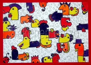 Tekenen en zo: In de stijl van Thierry NoirNa het bekijken en bespreken van werk van Thierry Noir, gaan de kinderen hoofden tekenen in de stijl van Noir. Het gaat daarbij vooral om profieltekeningen die links of rechts kijken. Het tekenvel moet volledig worden gevuld. Kies voor het inkleuren drie kleuren viltstift. Omlijn alles met een dikke zwarte markerstift. Kleur de stukken tussen de hoofden in met een vierde kleur, of, zoals in het voorbeeld, vul de ruimtes om met een patroon in…