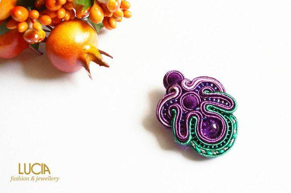 Purple soutache tulip brooch Elegant beaded flower jewelry
