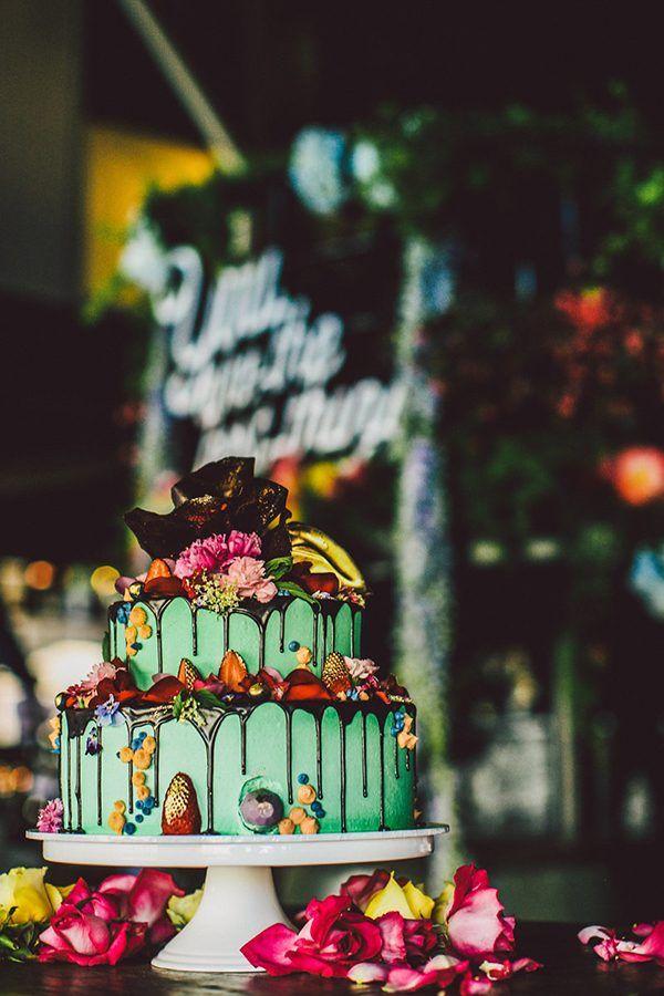 mint green wedding cakes - photo by Lara Hotz http://ruffledblog.com/australian-restaurant-wedding #weddingcake