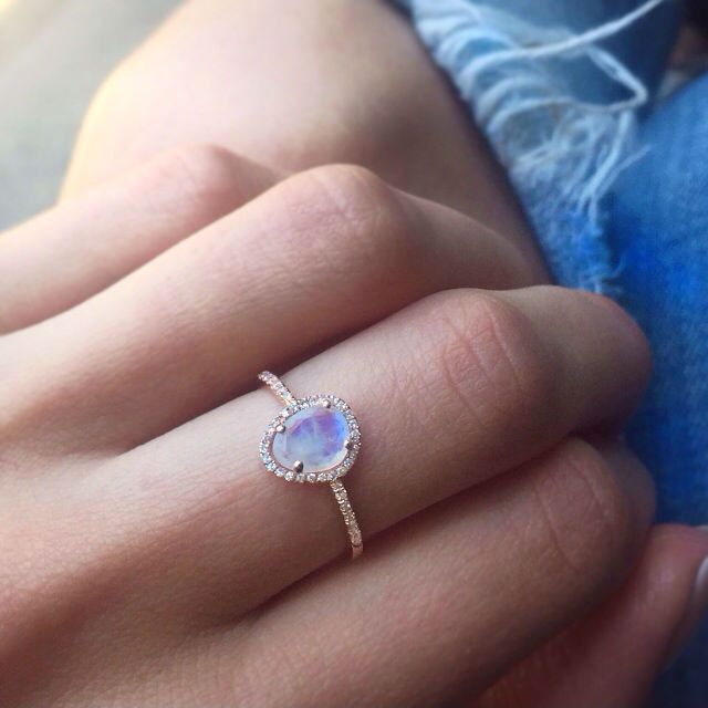 14kt gold mini moonstone and diamond ring – Luna Skye by Samantha Conn