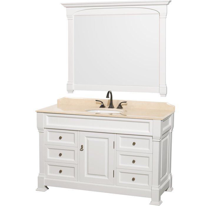 "The Wyndham Collection Andover 55"" Bathroom Vanity Set is defined by its skillful craftsmanship and class. It effortlessly blends in with contemporary themed interiors and enhances its appearance. This bathroom vanity set is part of the Andover collection, and is available in multiple base and top finishes allowing you to choose the one best suited to your decor. Fashioned from premium quality wood, this bathroom vanity is sturdy and durable. It is perfectly complemented with the marble ..."