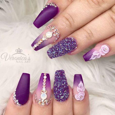 purple-nails-designs-coffin-matte-rhines - Gel Nail Art Polish Trends Part Five 2018 Makeup/Nails Inspiration
