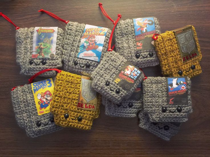 Retro Video game NES Cartridge Crochet PATTERN Nintendo Christmas Ornament by craftyiscoolcrochet on Etsy https://www.etsy.com/listing/259309705/retro-video-game-nes-cartridge-crochet