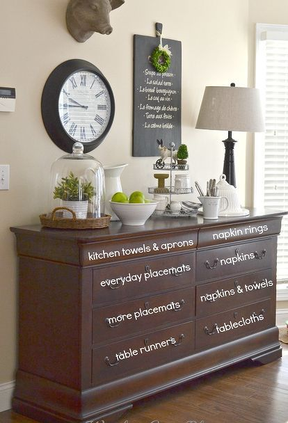 how to use a dresser for store linens, dining room ideas, home decor, organizing, repurposing upcycling, storage ideas, wall decor
