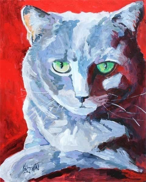 Russian Blue Cat Art Print of Original Acrylic by dogartstudio