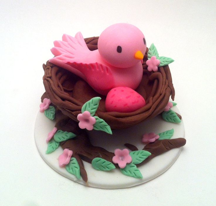 *SUGAR ART ~ Fondant Mommy with Egg in a nest - Fondant Cake Topper, - Cake Decoration - Baby Shower.